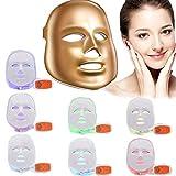 [2018 Nueva Versión] Xuehaostore 3D Fototerapia Terapia Fotónica con LED Recargable Eléctrica 7 Colores Tratamiento Ligero Belleza Facial Cuidado de la Piel Rejuvenecimiento Pototerapia Máscara PDT Belleza SPA Dispositivo Facial para el Cuidado de la Piel (dorado)