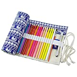 cosanter 36/48/72ranuras Pencil Case Holder Lienzo Animail portátil lápiz Rolled bolsa para pintura, color 48 Slots 24.5'' X 8.3''