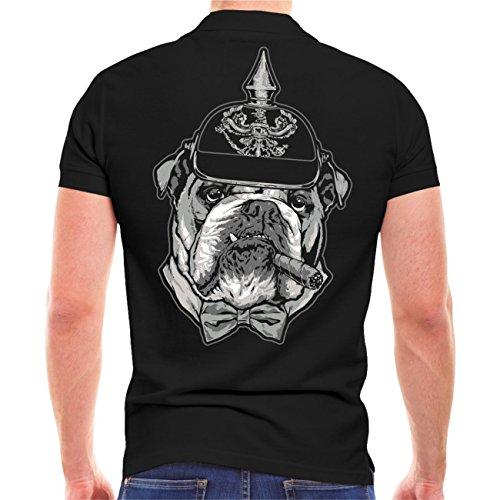 Männer und Herren POLO Shirt Bulldogge - Masse braucht Platz (mit Rückendruck) Schwarz