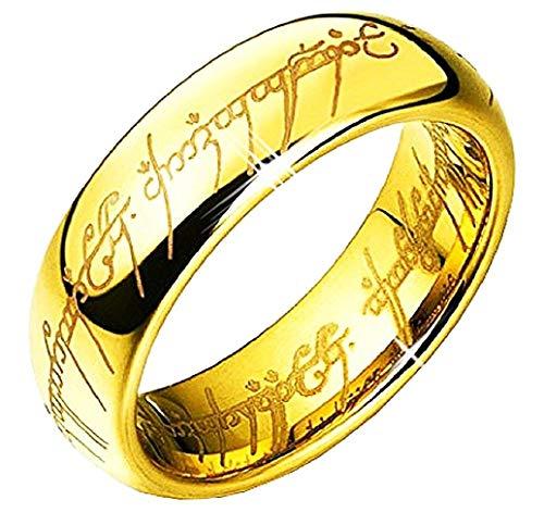 EVRYLON Ring der Ringe für Herren Schriftzug Lord of The Rings Film Serie TV Cosplay Geschenkidee Mädchen Farbe Gold Size (IT 13)