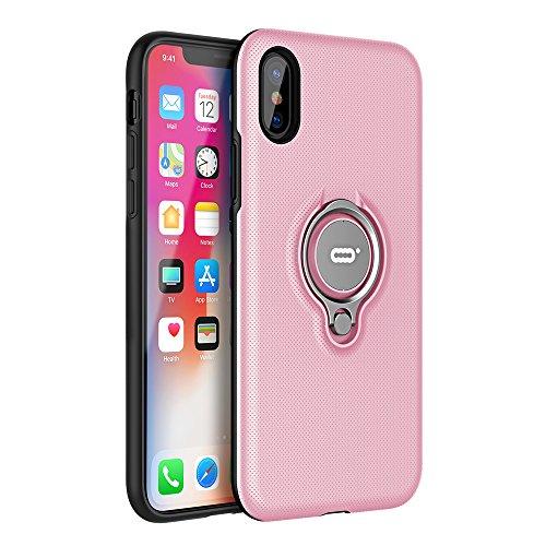 ICONFLANG iPhone X Hülle, iPhone X Tasche mit Ring Ständer, 360 Grad drehbarer Ring Halter, Dual Layer Stoßfest Schlagschutz iPhone X Hülle, Kompatibel mit Magnetic Car Mount Fall -Rosa Dual-ring-mount
