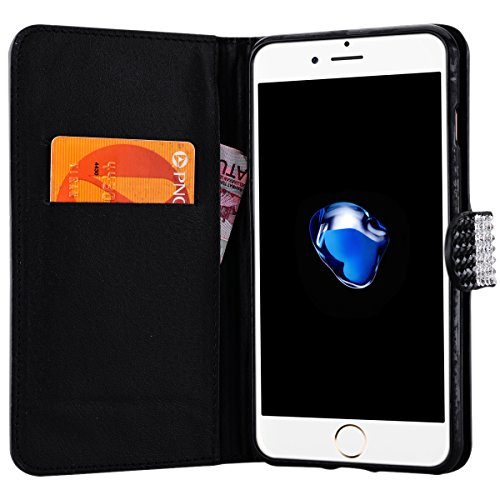 Coque iPhone 7, Etui iPhone 7 PU Cuir, GrandEverHousse Strass Diamond PU Leather Folio Etui TPU Souple Back Cover Soft Case Etui Bling Motif Bookstyle Case Cas Portable Holster Back Cover Souple Fonct Noir