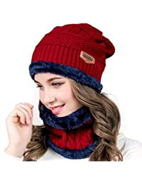 80ad618b202a46 Aisprts Winter Beanie Hat Scarf Set Warm Knit Hat Thick Knit Skull Cap  Outdoor Sports Hat
