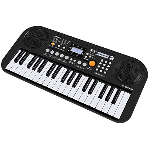 Klavier für Kinder, 37 Tasten Kinder Keyboard Spielzeug Klavier Keyboard Spielzeug Zwei Lautsprecher LCD Anzeigeschirm Multi-Funktion Keyboard für Kinder Beginner-Keyboard für Kleinkinder, Schwarz
