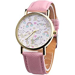 """quanjucheer Girl Boy unicornio reloj analógico pantalla de piel sintética cuarzo reloj de pulsera regalos para los niños en edad escolar, rosa, 9.61"""""""
