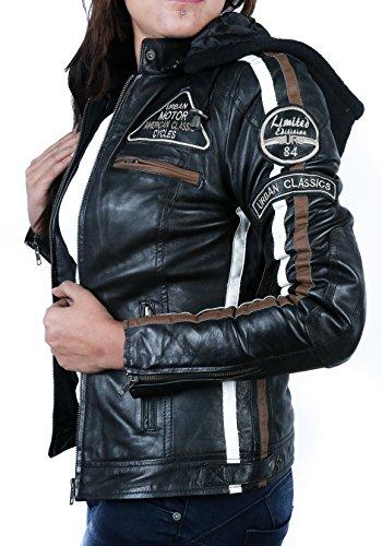 Giacca con da Leather Protettiva Donna Imbottitura Moto Nero Urban Uq4w5C