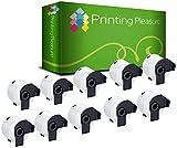 Printing Pleasure 10-er Pack Adressetiketten kompatibel für Brother DK-11209 29mm x 62mm (800 Stück/Rolle) P-Touch QL-500/QL-550/QL-560/QL-570/QL-700/QL-710W/QL-720NW/QL-1050/QL-1060N, weiß