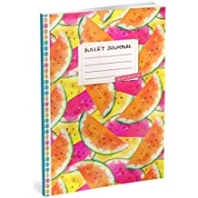 Bullet Journal: Punktraster Notizbuch (Ca. A5) + 100 Seiten + Vintage Softcover | TOP Motiv: Wassermelonen | Dot Grid Journal, Kalligraphie Übungsheft, Punktpapier +++ Jetzt mit Register +++