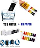 Water Quality Test Meter Digital Tool TDS&EC with PH Test Strips 4 in 1 Set, Temperature 0-9990 ppm Measurement