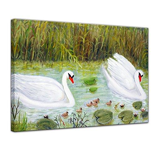 Leinwandbild Kunstdruck Reproduktion Aquarell - Schwan - Bild auf Leinwand 80 x 60 cm einteilig - Leinwandbilder - Bilder als Leinwanddruck - Wandbild von Bilderdepot24 - Tierwelten - Malerei - Natur - weißer Schwan in einem Teich