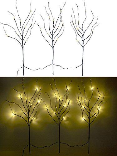 Lunartec Lichterzweig: 3 Deko-Zweige, je 48 Kunststoff-Knospen & 8 LEDs, batteriebetr, Timer (Lichtzweige)