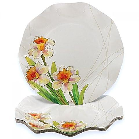 10 Pappteller rund, Ø 21 cm, schicker Dekoteller, Narzissen, Blumen, Partyteller-Set, Einwegteller aus verstärkter Wellpappe, (Blumen Pappteller)