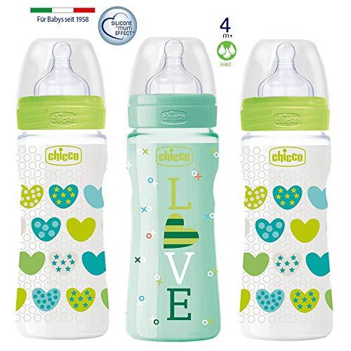 Chicco PP Flaschen Uni 3er Set // Babyfläschchen Well-Being 330ml //