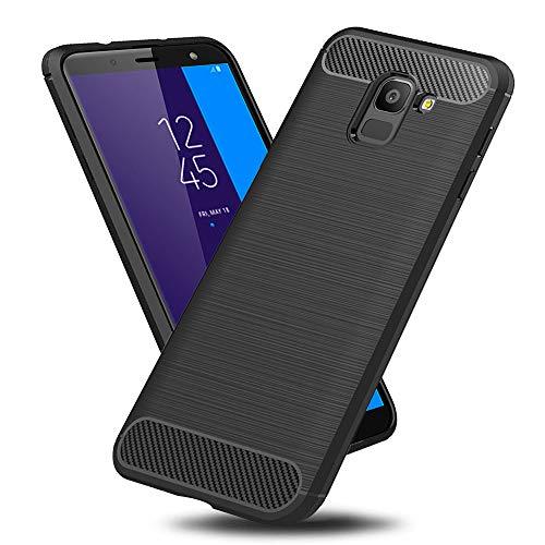 TopACE Hülle für Galaxy J6 2018 Flexiblem TPU Silikon Hybrid Schutzhülle Kohlenstoff-Fasern Tasche Slim-Fit Case für Samsung Galaxy J6 2018 (Schwarz)