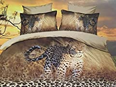 Idea Regalo - CUSHIONMANIA Effetto 3D 125 gsm Heavy Weight Set Lenzuola Matrimoniale Kingsize (Double, Leopardo)