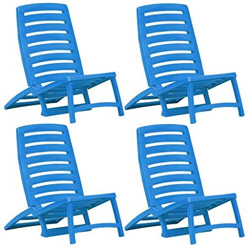 Tidyard sedie 4 pz pieghevoli da spiaggia in plastica,spiaggina sedia pieghevole in plastica piscina spiaggia mare blu