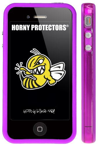 Horny Protectors Bumper für Apple iPhone 4 rosa/weiß mit Metallbutton lila/transparent lila
