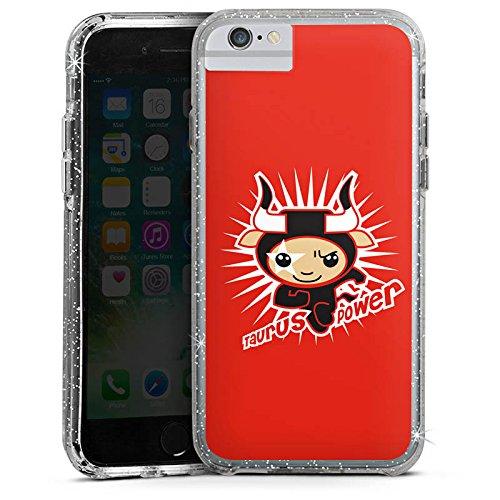Apple iPhone 6s Plus Bumper Hülle Bumper Case Glitzer Hülle Stier Stars Sterne Bumper Case Glitzer silber