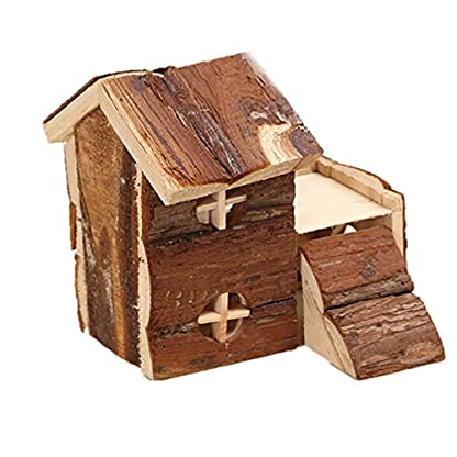 emours Natural Chewable Hamster Hideout Wooden Hut, Small 3