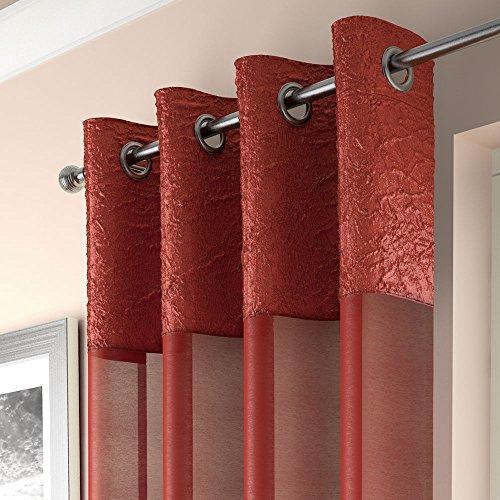 Mirabel - elegante tenda a pannello - ciniglia - attacco ad occhiello/asola - arancione - l135 x lungh 137 cm