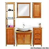 eisl Badmöbel-Set 5tlg. Bambus braun Schrankregal Unterschrank Spiegel Wandschrank