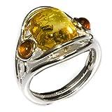Mehrfarbiger Bernstein Sterling Silber Ring Größe 52 (16.6)