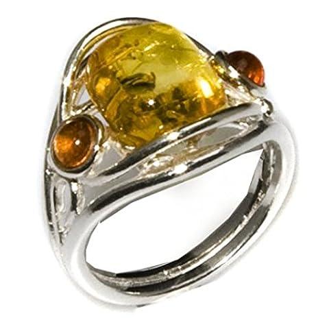 Noda bague en ambre multicolore et argent 925/1000 taille 54