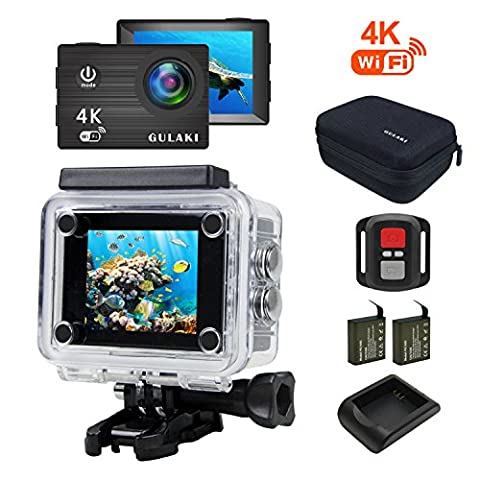 Caméra Sport, GULAKI 4K 16MP Wi-Fi Action Cam Waterproof 40M 2.0 Inch LCD Screen 170°Wide-Angle with Sony Sensor - 2 PCs 1050mAh Batteries and 2.4GHz Remote Accessories Kits