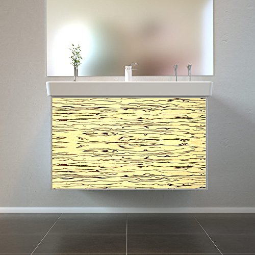 Badmöbel Wooden Leucht-Front Birke Holz mit Villeroy & Boch Waschbecken 80cm