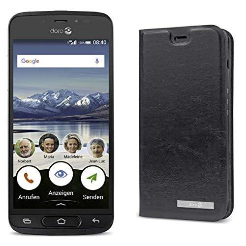 Doro 8040 Smartphone (12,7 cm (5 Zoll) Display, 8MP Kamera, 16GB Speicher) Graphit & Doro Flip Cover 8040 schwarz