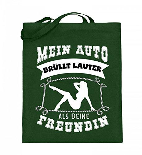 Hochwertiger Jutebeutel (mit langen Henkeln) - Mein Auto brüllt lauter Freundin Grün
