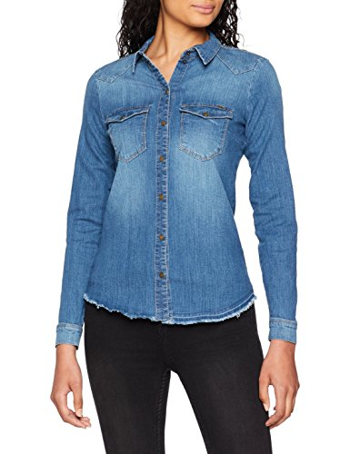 Only Onlkaylin L/s Raw Dnm Shirt Pim3062 Noos Blusa, Gris (Medium Blue Denim Medium Blue Denim), 42 (Talla del Fabricante: 40) para Mujer