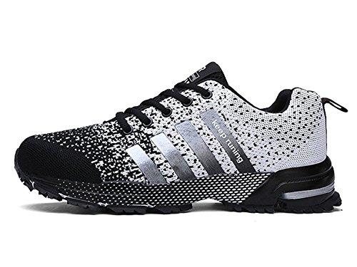 Uomo Donna Scarpe da Ginnastica Corsa Sportive Running Sneakers Fitness Interior Casual all'Aperto nero bianco