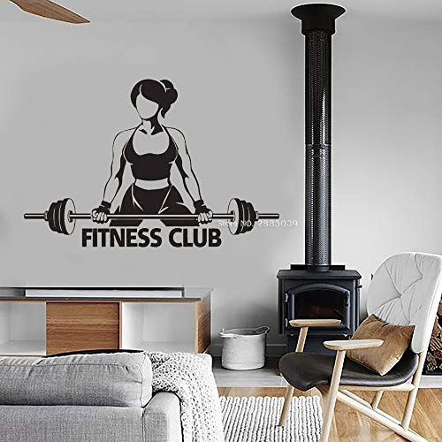 Ajcwhml Mädchen Fitness Club Wandtattoo Kunst Logo Aufkleber Bodybuilding Übung Wandaufkleber Gym Sport Wandbild Innendekoration 64 cm x 42 cm (Aquarium Große Log-dekorationen)