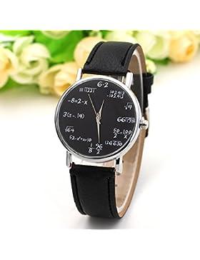 Kuulee Mode Quarzuhr Mathe Formel Runde Zifferblatt PU Leder Casual Armbanduhren für Frauen und Herren