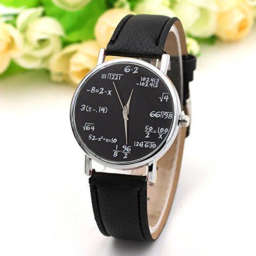 Zantec Mode Quarzuhr Mathe Formel Runde Zifferblatt PU Leder Casual Armbanduhren für Frauen und Herren