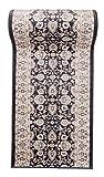 Läufer Teppich Flur in Grau Anthrazit Beige - Orientalisch Klassischer Muster - Brücke Läuferteppich nach Maß - 120 cm Breit -