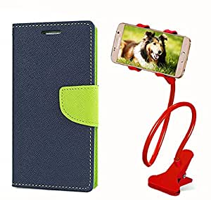 Aart Fancy Diary Card Wallet Flip Case Back Cover For Samsung E7 - (Blue) + 360 Rotating Bed Tablet Moblie Phone Holder Universal Car Holder Stand Lazy Bed Desktop for by Aart store.