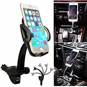 360 Degrees Adjustable 2 USB Port Charger Car Mount Holder Stand For Mobile Phone GPS-Black