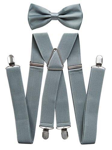 axy® Hochwertige Herren Hosenträger mit Fliege - 4 Starken Clips X-Form (Grau (Hosenträger Breit 3,5cm))