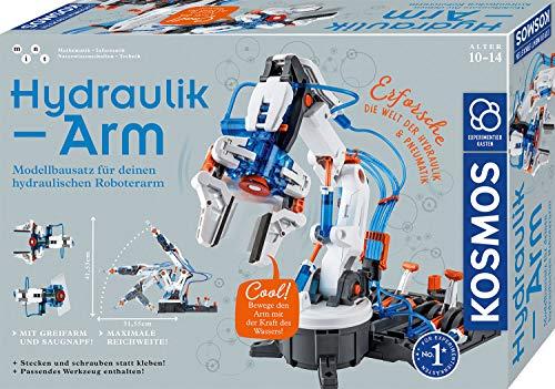 Kosmos 620578 Hydraulik-Arm, Modellbausatz für deinen hydraulischen Roboterarm, Experimentierkasten zu Hydraulik und Pneumatik, mit Greifarm und Saugnapf, ab 10 - 14 Jahre