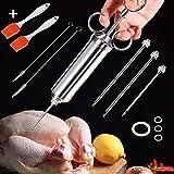 Masthome carne in acciaio INOX iniettore kit con 3Professional marinata aghi e 2spazzola di pulizia