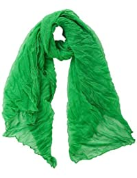 Green Large Cotton Crinkled Scarf