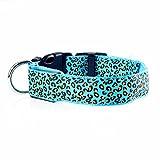 Sijueam Leopard Muster LED Hundehalsband, Verstellbar blinkendes Halsband Leuchthalsband Sicherheit Hund Halskette Loop Nylon Welpen Illuminating, mit Verstellbare Schnalle, 6Farben