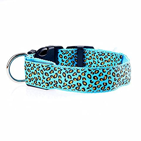 Sijueam Leopard Pattern LED Pet Dog Collar, Adjustable Flashing Collar Light-up Safety Dog Necklace Loop Nylon Puppy Illuminating Collar with Adjustable Buckle,6 Colors
