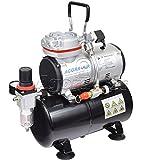 Agora-Tec® Airbrush Compressor AT-AC-05, Kompressor für Airbrushanwendungen mit max. 6 bar und 23l/min, inkl. 3,0 L Tank, inkl. Kondenswasserfilter und Druckregler