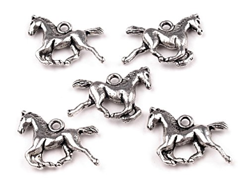 maDDma ® 10 Anhänger Pferd/Pferdchen, 15 x 18 mm, Platin