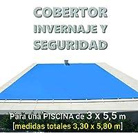 Cobertor, lona, cubierta, toldo,… de invierno para cubrir una piscina de 3 x 5,5 m. Medidas totales del cobertor: 3,30 x 5,80 m. Incluye: Cobertor + Anclajes escamoteables 100% inox + Tensores de 8 mm + Saco de almacenaje. Color: Azul y negro en el reverso. Opacidad total – Forma: rectangular.