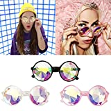 Clearance Sale!OverDose Unisex Women Mens Ins Hot Kaleidoscope Glasses Rave Festival Party EDM Sunglasses Diffracted Lens(Clear)