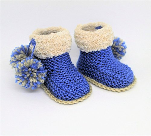 Baby Boy Booties, Pom pom booties, Fur Booties, Winter boots, Fur boots, Baby Slippers, Blue UGG style booties, Pompom shoes, Pompom slippers (3 - 6 months)
